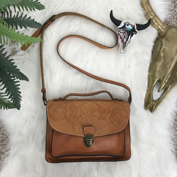 Patricia Nash Brown Floral Leather Crossbody Bag